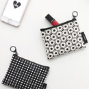 Plain pattern small flat zipper pouch