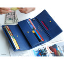 Navy blue - Wide pass slim clutch wallet