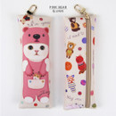 Pink bear - Choo Choo cat slim pencil case