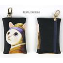 Pearl earring - Choo Choo cat card case holder
