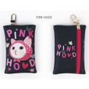 Pink hood - Choo Choo cat card case holder