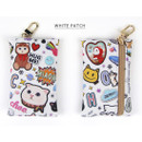 White patch - Choo Choo cat card case holder