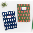 Owl / Green bear - illustration small plain and lined notebook