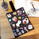 Black patch - Choo Choo cat cori zipper tote bag