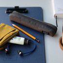 Dark brown - Draw up a plan single zipper pencil case