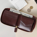 Burgudny - Think about w Genuine Leather zip around wallet