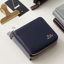 Navy - Think about w Genuine Leather zip around wallet