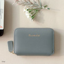 Gray - Think about w genuine leather accordion card wallet