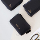 Navy - Think about w genuine leather accordion card wallet