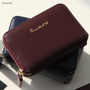 Burgundy - Think about w genuine leather accordion card wallet