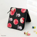 Peach black - With Alice Rim pattern zip around wallet