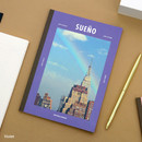 Violet - Colorful A5 size grid-lined class notebook