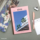 Peach pink - colorful A5 size grid-lined class notebook