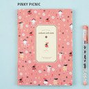 Pinky picnic - Colorful pattern medium soft lined notebook