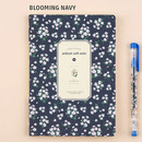 Blooming navy - Colorful pattern medium soft lined notebook