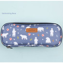 Swimming bear - Lovely pattern block pencil case pouch