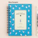 Blue penguin - Wirebound spring lined small notebook