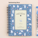 Swimming bear - Wirebound spring lined small notebook