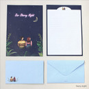 Starry night - Pattern illustration letter paper and envelope set