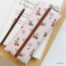 Pink bear - Willow illustration pattern zipper pencil case