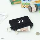Black - Som Som stitching card case with key ring