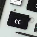 Black - Som Som stitching card case with key ring