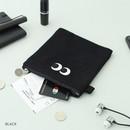 Black - Som Som stitching small zipper pouch