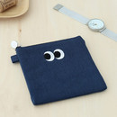 Navy - Som Som stitching small zipper pouch