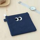 Navy - Som Som stitching small zipper pouch