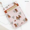 Pink bear - Willow story pattern flat card holder case ver4