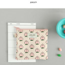Peach - Jam Jam cute illustration pattern small zipper pouch