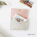 Pink & gray - Multi purpose twin pocket card case
