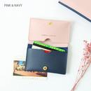 Pink & navy - Multi purpose twin pocket card case