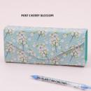 Mint cherry blossom - Pattern square pencil case box ver2