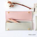 Pink & gray - Multi purpose twin pocket pencil case