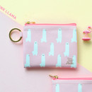 Pink - In the zoo coin card zipper wallet with key ring