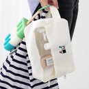 Travel toiletry bag with hand strap