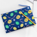 Navy lemon - Rim somsom large zipper pouch