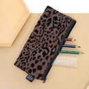 Brown - Leopard pattern zipper pencil case