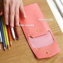 Extra pocket pencil case with snap button