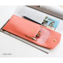 Coral pink - Extra pocket pencil case with snap button