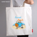 Lazy holiday sunset beach eco tote bag