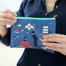 Navy - Boy and Girl cartoon zipper pouch