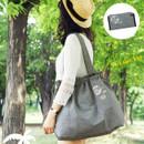 Black - Tropical travel foldable island denim shoulder bag