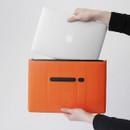 Orange - Premium business flat multi zipper pouch
