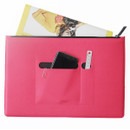 Pink - Premium business flat multi zipper pouch