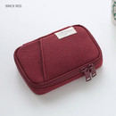 Brick red - A low hill zip around pocket small pouch