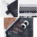 Detail of Som Som stitch mesh zipper pouch