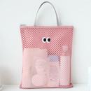 Pink - Som Som stitch square mesh zipper tote bag