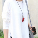 Red - Snap button leather sunglasses necklace